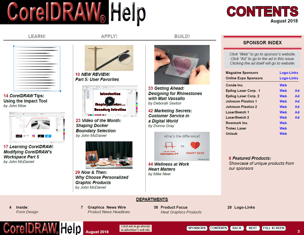 CorelDRAW Help Magazine - August 2018 - Table of Contents