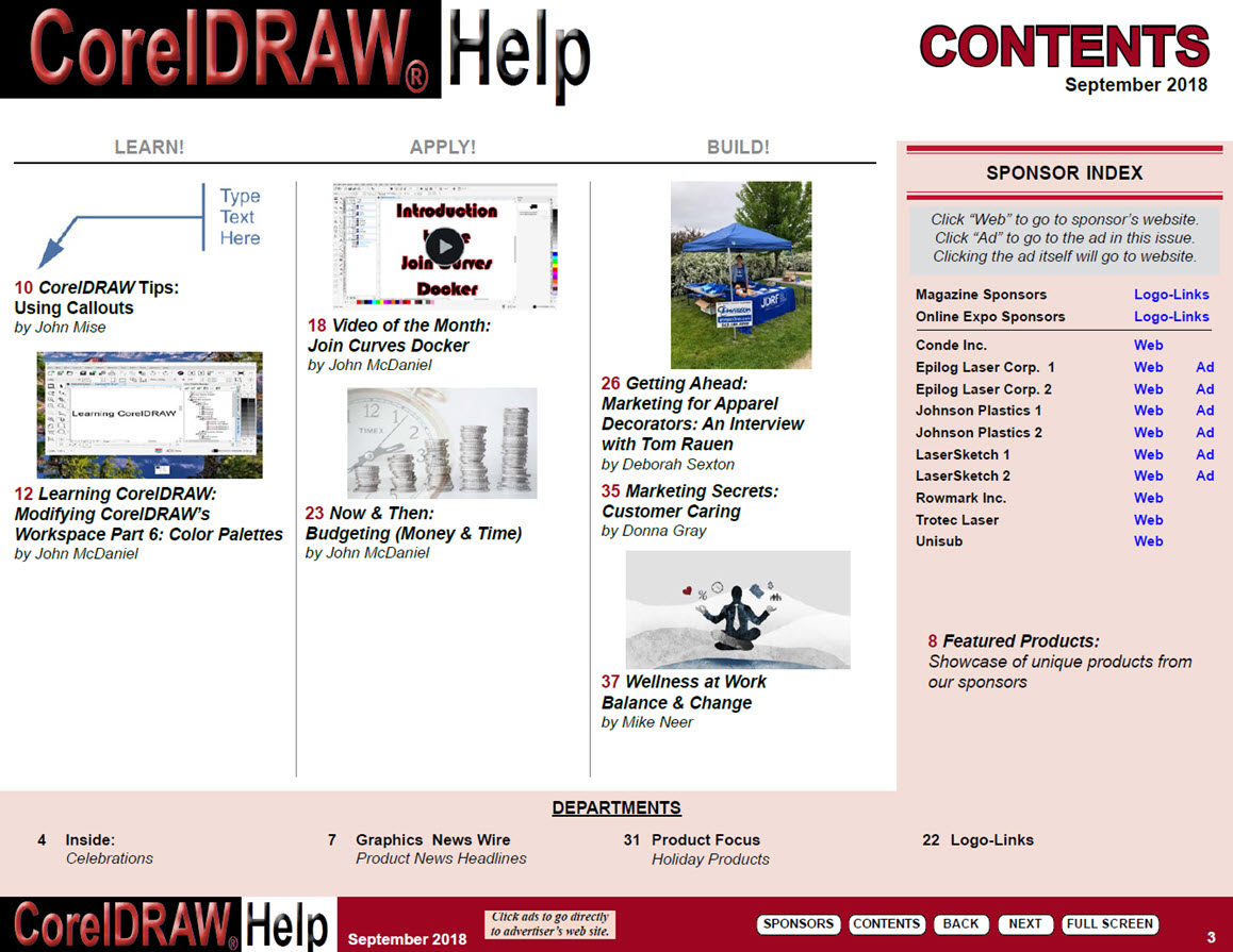 CorelDRAW Help Magazine - September 2018 - Table of Contents